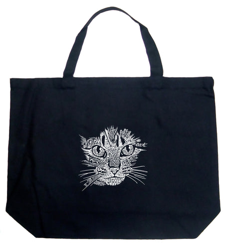LA Pop Art Large Word Art Tote Bag - Cat Face
