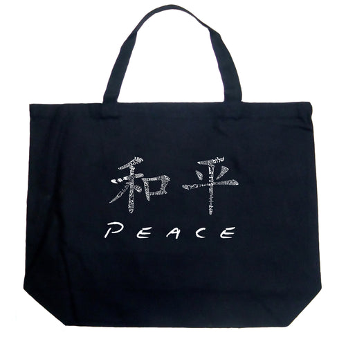 LA Pop Art Large Word Art Tote Bag - CHINESE PEACE SYMBOL