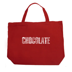 LA Pop Art Large Word Art Tote Bag - Different foods made with chocolate