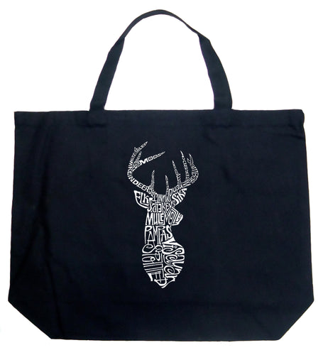 LA Pop Art Large Word Art Tote Bag - Types of Deer
