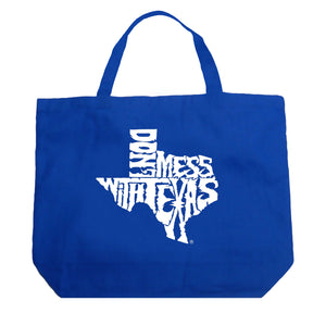 LA Pop Art Large Word Art Tote Bag - DONT MESS WITH TEXAS