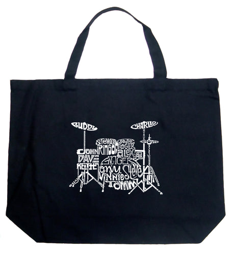 LA Pop Art Large Word Art Tote Bag - Drums