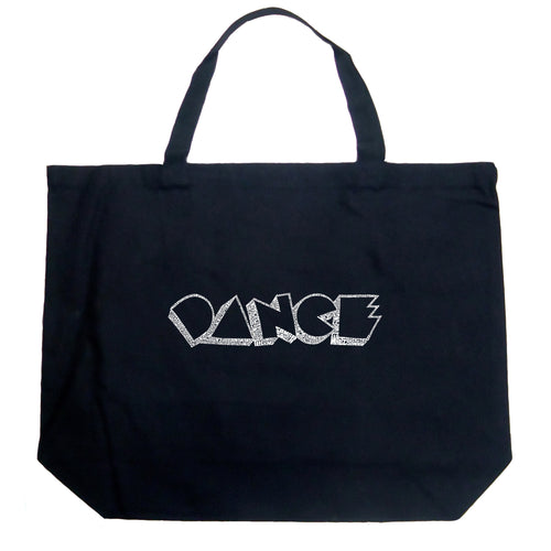 LA Pop Art Large Word Art Tote Bag - DIFFERENT STYLES OF DANCE