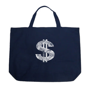 LA Pop Art Large Word Art Tote Bag - Dollar Sign