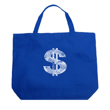 Load image into Gallery viewer, LA Pop Art Large Word Art Tote Bag - Dollar Sign