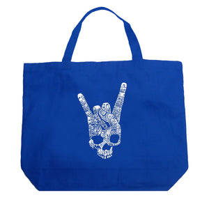 LA Pop Art Large Word Art Tote Bag - Heavy Metal Genres