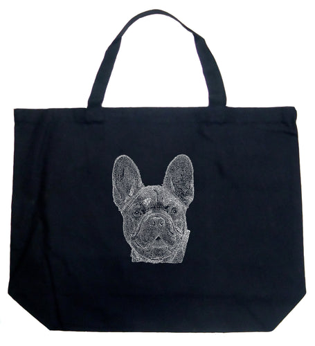 LA Pop Art Large Word Art Tote Bag - French Bulldog