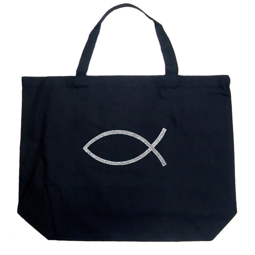 LA Pop Art Large Word Art Tote Bag - JESUS FISH