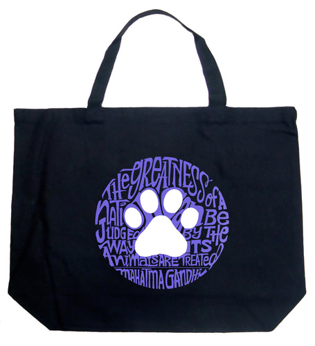 LA Pop Art Large Word Art Tote Bag - Gandhi's Quote on Animal Treatment