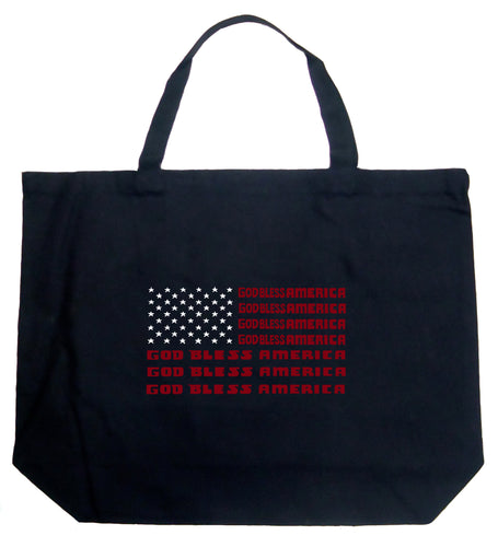 LA Pop Art Large Word Art Tote Bag - God Bless America