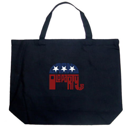 LA Pop Art Large Word Art Tote Bag - REPUBLICAN - GRAND OLD PARTY