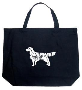 LA Pop Art Large Word Art Tote Bag - Golden Retreiver