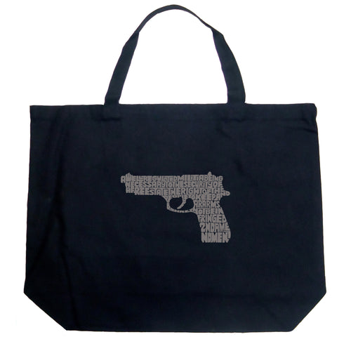 LA Pop Art Large Word Art Tote Bag - RIGHT TO BEAR ARMS