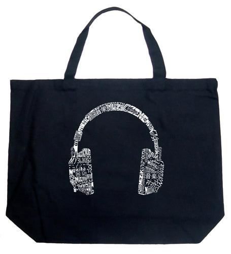LA Pop Art Large Word Art Tote Bag - HEADPHONES - LANGUAGES