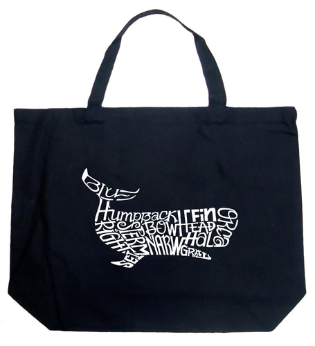 LA Pop Art Large Word Art Tote Bag - Humpback Whale
