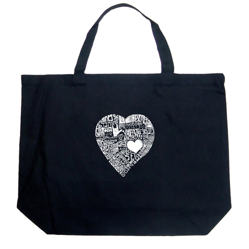 LA Pop Art Large Word Art Tote Bag - LOVE IN 44 DIFFERENT LANGUAGES