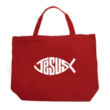 Load image into Gallery viewer, LA Pop Art Large Word Art Tote Bag - Christian Jesus Name Fish Symbol