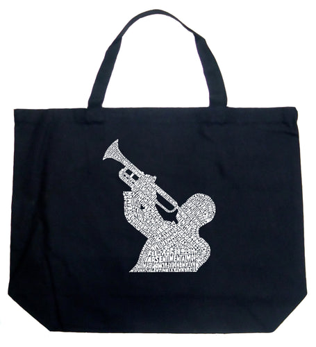 LA Pop Art Large Word Art Tote Bag - ALL TIME JAZZ SONGS
