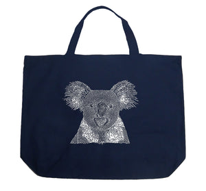 LA Pop Art Large Word Art Tote Bag - Koala