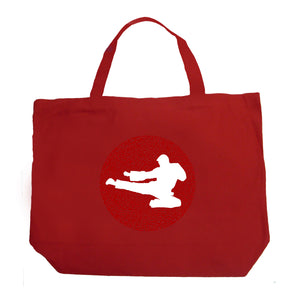 LA Pop Art Large Word Art Tote Bag - Types of Martial Arts