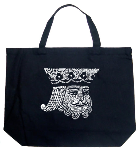 LA Pop Art Large Word Art Tote Bag - King of Spades