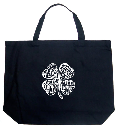 LA Pop Art Large Word Art Tote Bag - Feeling Lucky