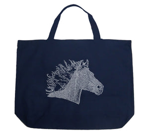 LA Pop Art Large Word Art Tote Bag - Horse Mane