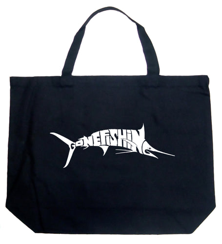 LA Pop Art Large Word Art Tote Bag - Marlin - Gone Fishing
