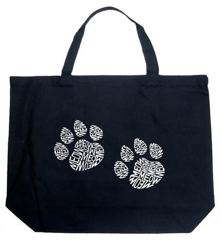 LA Pop Art Large Word Art Tote Bag - Meow Cat Prints