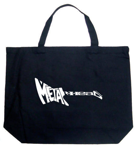 LA Pop Art Large Word Art Tote Bag - Metal Head