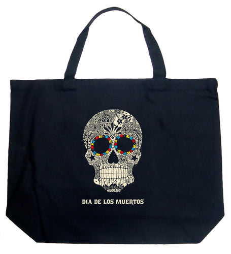 LA Pop Art Large Word Art Tote Bag - Dia De Los Muertos