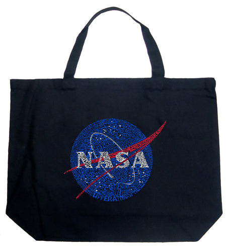 LA Pop Art Large Word Art Tote Bag - NASA's Most Notable Missions