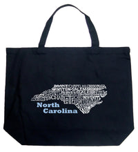 Load image into Gallery viewer, LA Pop Art Large Word Art Tote Bag - North Carolina
