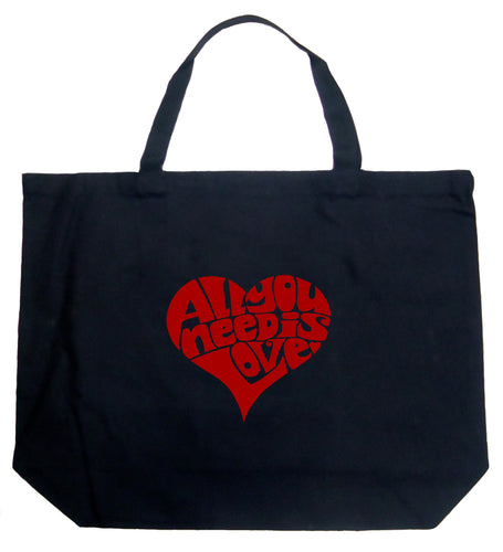 LA Pop Art Large Word Art Tote Bag - All You Need Is Love