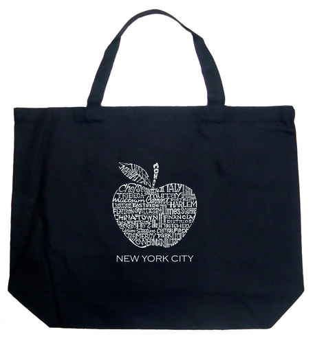 LA Pop Art Large Word Art Tote Bag - Neighborhoods in NYC