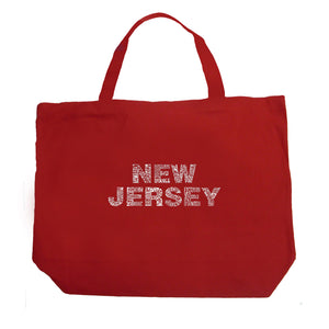 LA Pop Art Large Word Art Tote Bag - NEW JERSEY NEIGHBORHOODS