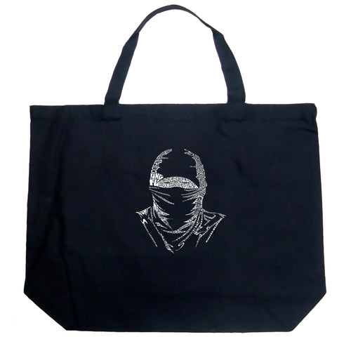 LA Pop Art Large Word Art Tote Bag - NINJA