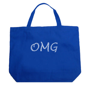 LA Pop Art Large Word Art Tote Bag - OMG