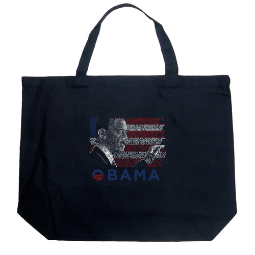 LA Pop Art Large Word Art Tote Bag - BARACK OBAMA - ALL LYRICS TO AMERICA THE BEAUTIFUL
