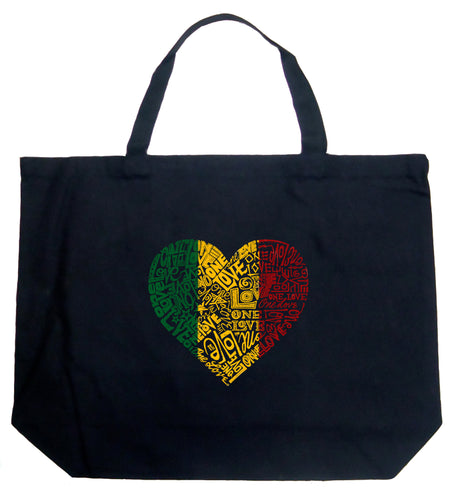 LA Pop Art Large Word Art Tote Bag - One Love Heart