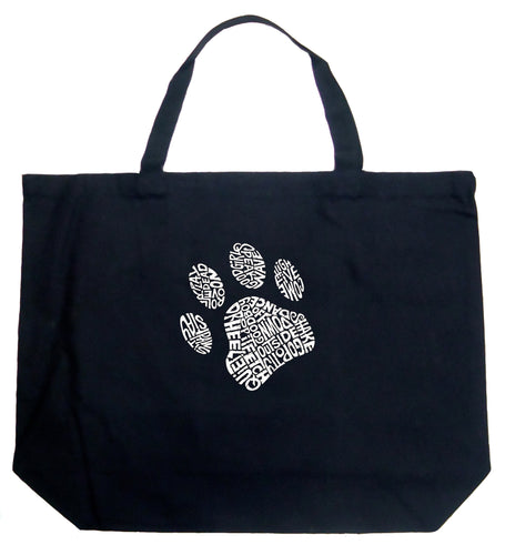 LA Pop Art Large Word Art Tote Bag - Dog Paw