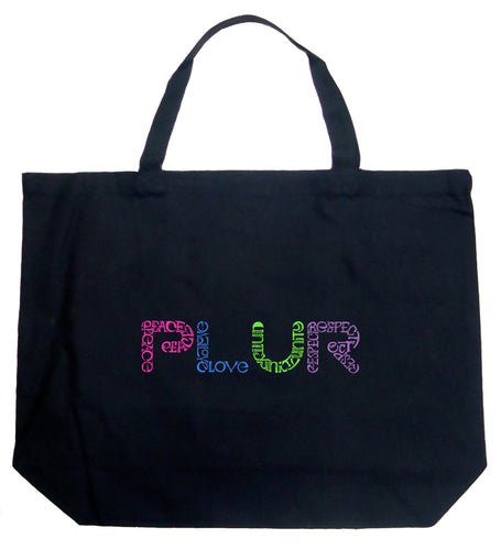 LA Pop Art Large Word Art Tote Bag - PLUR