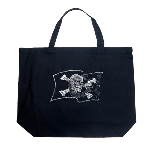 LA Pop Art Large Word Art Tote Bag - FAMOUS PIRATE CAPTAINS AND SHIPS