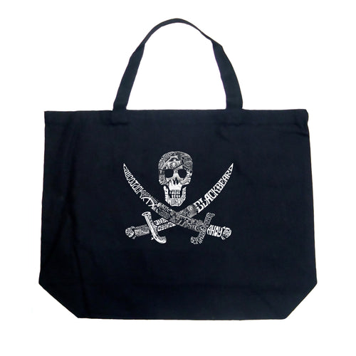 LA Pop Art Large Word Art Tote Bag - PIRATE CAPTAINS, SHIPS AND IMAGERY