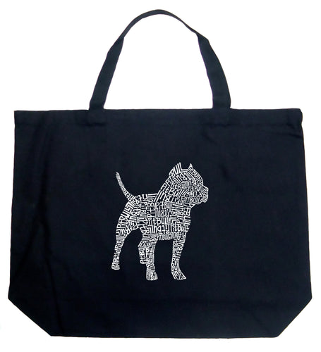 LA Pop Art Large Word Art Tote Bag - Pitbull