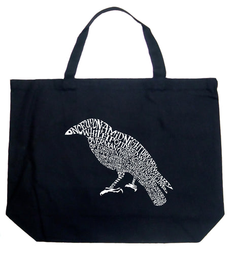LA Pop Art Large Word Art Tote Bag - Edgar Allan Poe's The Raven