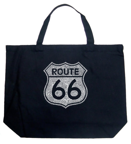 LA Pop Art Large Word Art Tote Bag - CITIES ALONG THE LEGENDARY ROUTE 66