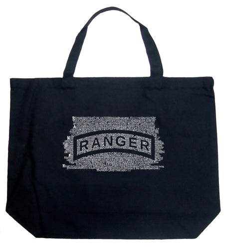 LA Pop Art Large Word Art Tote Bag - The US Ranger Creed
