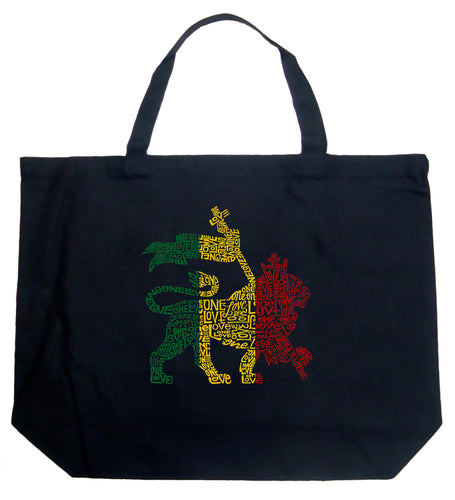 LA Pop Art Large Word Art Tote Bag - Rasta Lion - One Love