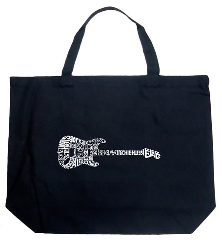 LA Pop Art Large Word Art Tote Bag - Rock Guitar